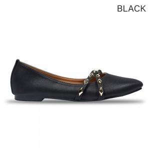 Jiasilin Cross Chain Strap Pointed Toe Women Flats Shoe (M10-110)