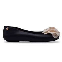 Jiasilin Lovely Flower Jelly Shoes (Black)