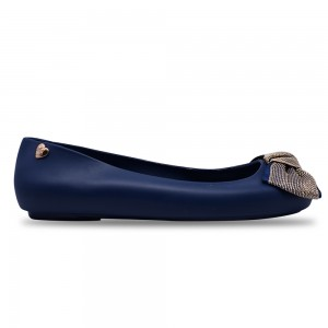 Jiasilin Cute Bow Jelly Shoes (Dark Blue)