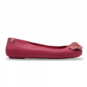 Jiasilin Cute Bow Jelly Shoes (Fuchsia)