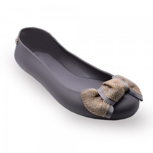 Jiasilin Cute Bow Jelly Shoes (Dark Grey)