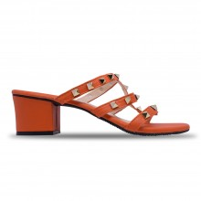 Jiasilin Studded Mid Heel Sandals (Orange)