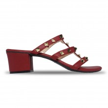 Jiasilin Studded Mid Heel Sandals (Red)