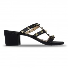 Jiasilin Studded Mid Heel Sandals (Black)