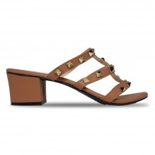 Jiasilin Studded Mid Heel Sandals (Light Brown)