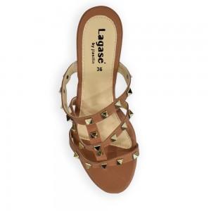 Jiasilin Studded Mid Heel Sandals (Light Brown)