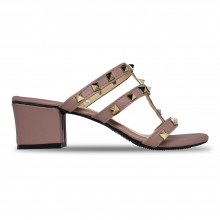 Jiasilin Studded Mid Heel Sandals (Light Pink)