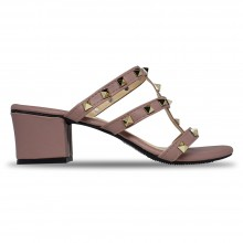 Jiasilin Studded Mid Heel Sandals (Dark Pink)