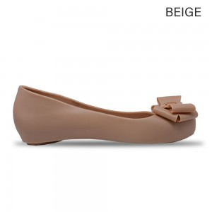 Jiasilin Sweet Bow Jelly Shoes (Light Brown)