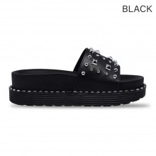 Jiasilin Studded Slide Sandals (Black)
