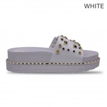 Jiasilin Studded Slide Sandals (White)