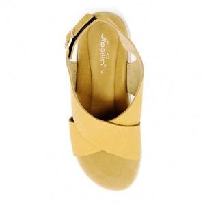 Jiasilin Ankle Strap Criss Cross Platform Sandals (Gold)