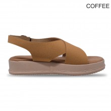 Jiasilin Ankle Strap Criss Cross Platform Sandals (Coffee)