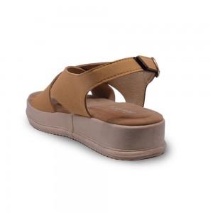 Jiasilin Ankle Strap Criss Cross Platform Sandals (Coffee)