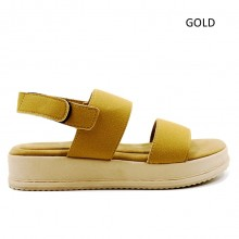 Jiasilin Classic Ankle Strap Platform Sandals (Gold)