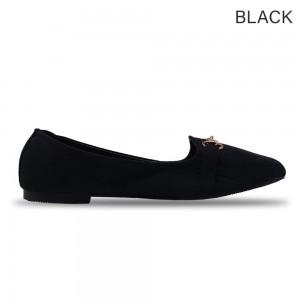 Jiasilin Metallic Buckle Front Flats (Black)