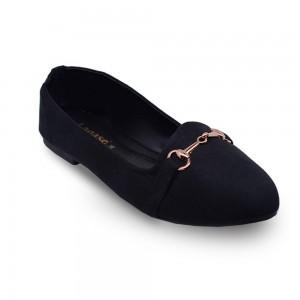 Jiasilin Metallic Buckle Front Flats (Black)