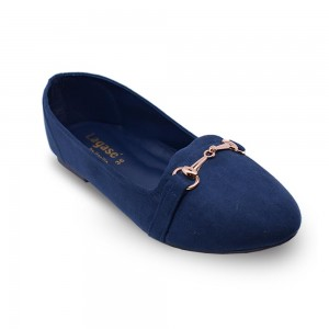 Jiasilin Metallic Buckle Front Flats (Blue)