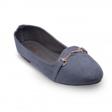 Jiasilin Metallic Buckle Front Flats (Grey)