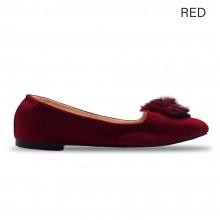 Jiasilin Pom Pom Front Flats (Red)