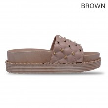 Jiasilin Studded Slide Sandals (Brown)