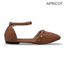 Jiasilin Ankle Strap Stud Flats (Apricot)
