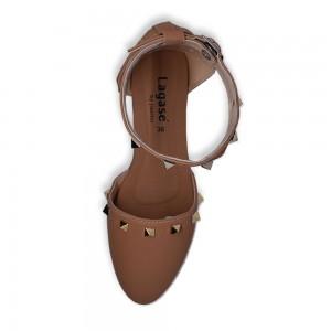 Jiasilin Ankle Strap Stud Flats (Apricot)