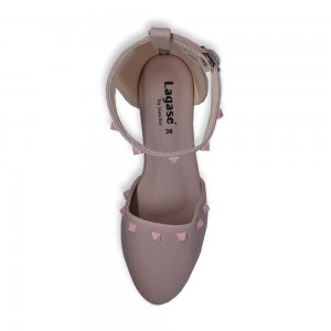 Jiasilin Ankle Strap Stud Flats (Pink)