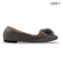 Jiasilin Pom Pom Front Flats (Grey)
