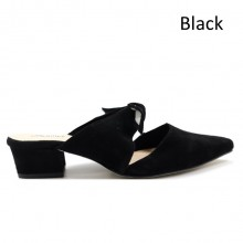 Jiasilin Suede Slip On With Ribbon (Black)